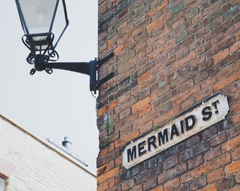"Mermaid Street Sign Photography, Rye, Typography Photography,  8"" x 10"""