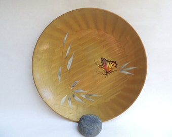 Vintage Asian Gold Lacquer Ware Butterfly Plate With Wavy Pattern
