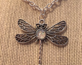 "16"" Clear Faux Druzy Dragonfly Necklace"
