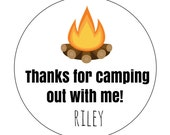 12 Campfire Stickers, Camping Theme, Camp Fire Party, Camping Birthday, First Birthday, Camping Favors, Thank You Stickers, Campfire Labels