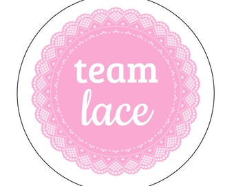 24 Team Lace Stickers, Baby Shower, Gender Reveal, Lures and Lace, Shower, Lace Stickers, Team Girl, It's a Girl, Team Pink, Reveal Labels