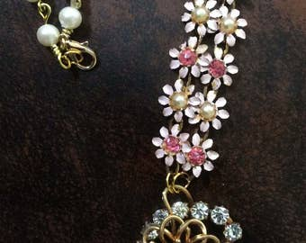 Delicate Vintage Rhinestone and Pearl Necklace