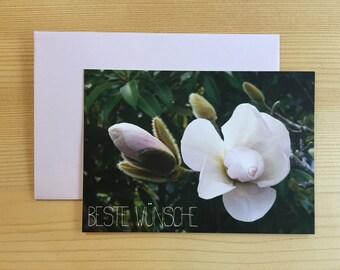 Greeting Card | Magnolia | Incl. rosé color Envelope | Best Wishes | Format DIN A7