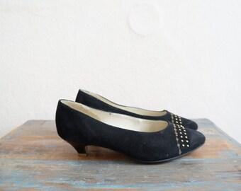 1980 Shoes / Mid Heels Shoes / Black Vintage Shoes