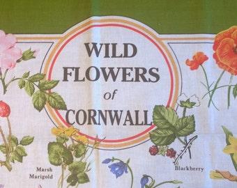 Wild Flowers Of Cornwall cotton vintage tea towel