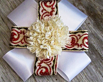 Cream Lace Flower on White Ribbon and White Ribbon with Red, Gold, and Black Accents all Attached to a Barrette Back (RB005)