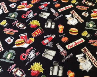 """Burgers Hot Dogs French Fries Coffee curtain valance 42"""" x 15"""" in 100% cotton - handmade new."""