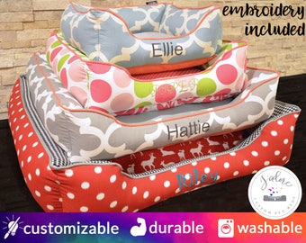 Dog Bed or Cat Bed - Choose Size, Fabric, Embroidery | Washable, Custom Dog Bed, Custom Cat Bed, Custom Pet Bed, Personalized | High Quality