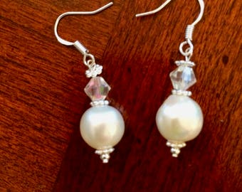Freshwater White Baroque Pearl and Crystal Earrings