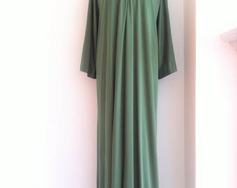 Late 1970s HALSTON IV Jersey Long Kaftan Dress