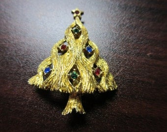 Rhinestone Cristmas Tree Pin Brooch Signed JJ
