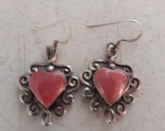 Sterling Silver Pink Stone Heart Earrings