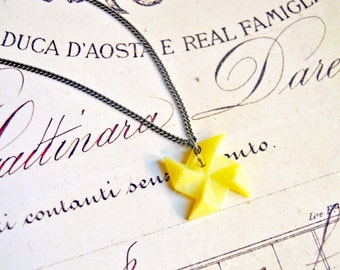 Polymer clay yellow windmill origami pendant necklace - windmill necklace, origami necklace, polymer clay necklace