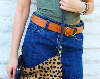 Cheetah Print Hair on Hide Crossbody Bag