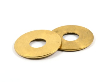 2 Pcs. Solid Brass 2x35 mm Round Circle  Blanks , Hole Size 12 mm