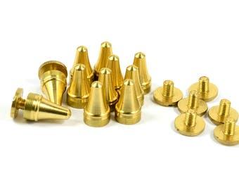 10 Pcs. Solid Brass 7x12 mm Rivet Screw Stud Spike Findings