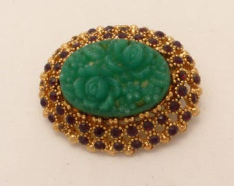 Sphinx Molded Glass High Dome Faux Jade Flowers Brooch
