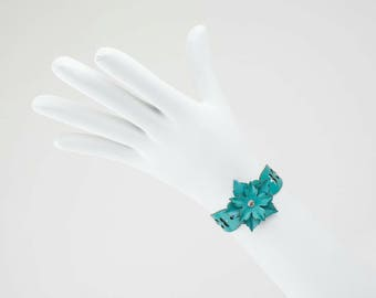 Leather Flower Bracelet in Turquoise , Red or Purple