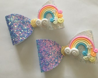 Rainbow Bow, blue and white with clay charm