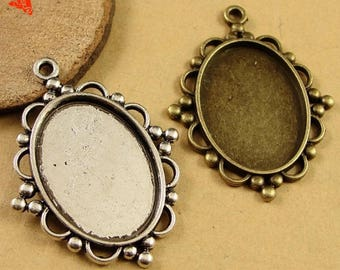 18x25mm Oval Glass Kits - Oval Blank Bezel Setting - Pendant Base - Cabochon Setting