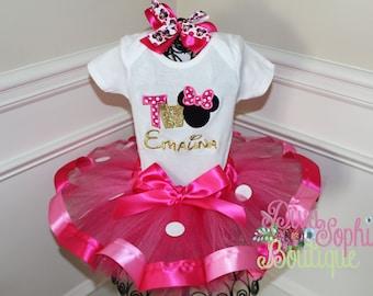 Minnie Mouse Ribbon Tutu Set - Birthday Set Personalized