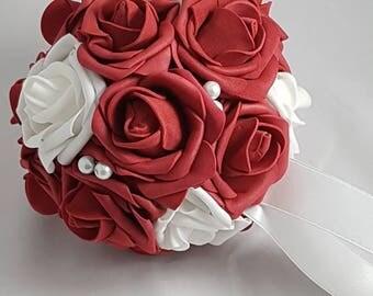 "6"" Burgundy and White Wedding Pomanders, Wedding Flower Balls, Flower Girl Kissing Ball,  Bouquet Alternative"