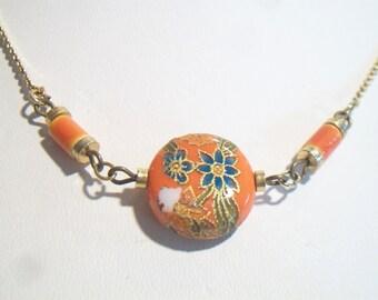 Vintage Orange Floral Cloisonne Necklace Retro Flower Costume Jewelry