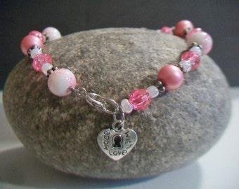 Pink Beaded Keyhole Bracelet Pearl Bead Jewelry