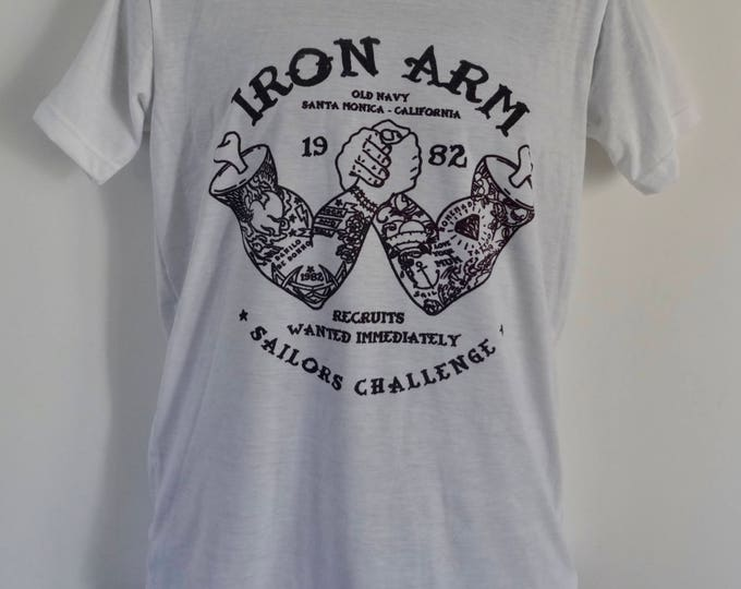 Men's Vintage Tattooed Arm Wrestling T-Shirt - Tattoo Navy Sailor Alternative - UK S M L
