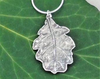 Real oak leaf necklace. Oak leaf dipped in silver pendant. Silver leaf pendant. English Oak leaf dipped in pure silver. Fashion accessory.