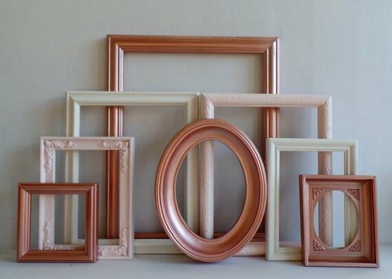 rose gold blush and cream custom picture frames set vintage. Black Bedroom Furniture Sets. Home Design Ideas