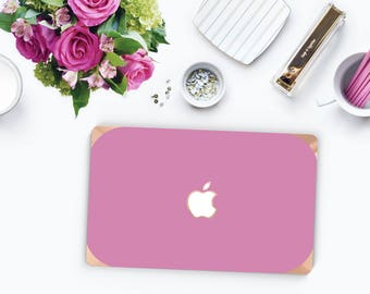 Platinum Edition Soft Purple with w/Rose Gold Edge Hybrid Hard Case for Apple Mac Air & Mac Retina , New Macbook 2016