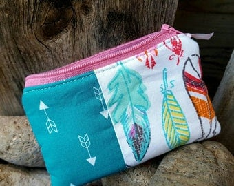 Feather Coin Purse, Feather & Arrow Zipper Wallet, Arrow Change Purse
