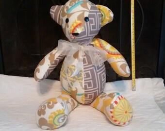 poly stuffed fabric bear