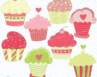 80% OFF SALE cupcakes clipart commercial use, vector graphics, digital clip art, digital images - CL352
