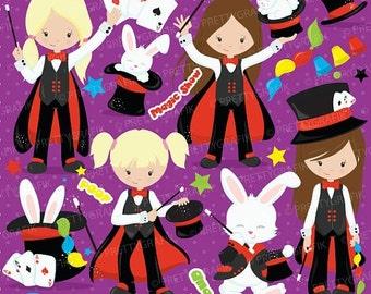 80% OFF SALE Magician girl clipart commercial use,magic clipart, magic show vector graphics, digital clip art, digital images - CL701