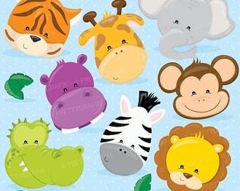 80% OFF SALE Jungle Animals faces clipart commercial use, animals faces vector graphics, digital clip art, digital images - CL719