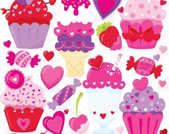 80% OFF SALE Valentine sweets dessert clipart commercial use, valentine vector graphics, monster digital clip art, digital images - CL797