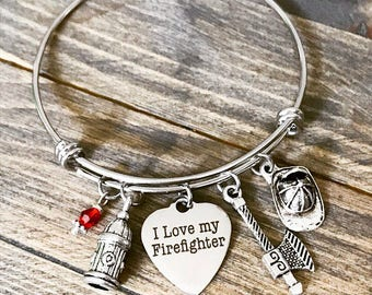 I Love My Fire Fighter Bangle Bracelet Gift - Anniversary Mothers Day Valentines Christmas Gift for Her
