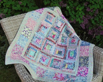 multi coloured Liberty print handmade patchwork cot quilt, baby blanket, ready to post