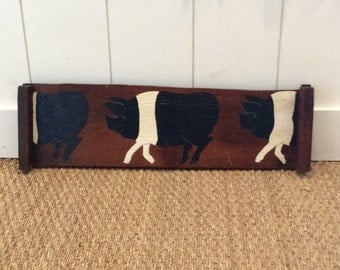Vintage Painted Pigs Wall Hanging