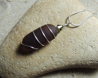 Handmade Natural Surf Tumbled Deep Amber Sea Glass Pendant Wrapped in Silver with Swarovski Crystal Accent  on Chain