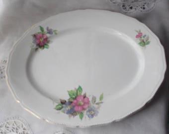 Pretty Vintage  Meat Plate , Vintage Meat Platter , Vintage Platter , Floral Pattern Platter