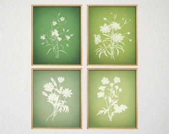 Green Botanical Prints, Green Wall Art, Transitional Art, English Countryside, Farm House Rustic Art, Artwork Living Room, Green Living Room