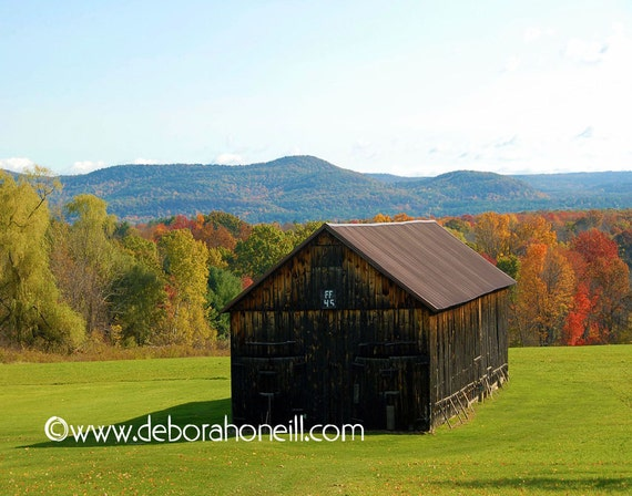 "Barn Photography - fall foliage barn farm view New England colorful vintage old scenic ""Barn Shadows"""