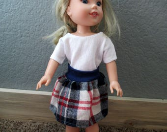 "Handmade for 14.5"" Wellie Wisher Doll Clothes Plaid Flannel Skirt & Tee 2pc. outfit Red White Blue"