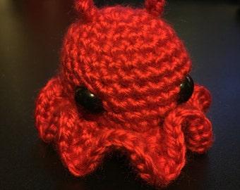 Red Amigurumi Octopus 2in x 3in