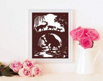 Three Billy Goats Gruff JPEG FIle - cut your own papercut - perfect handmade gift!