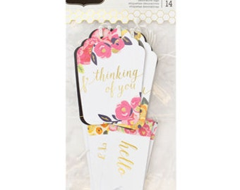 Everyday Floral and Gold Foil Cardstock Gift Tags   All Occasion Gift Tags   Floral Gift Tags