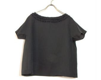 Women's Black Linen Top, Frill Blouse, French Sleeve, Round Neck, Ships Worldwide